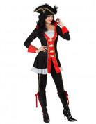 Barock-Piratin Damenkostüm schwarz-bunt
