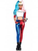 Harlekin-Damenkostüm Superschurken-Damenkostüm weiss-rot-blau