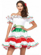Sexy Seniorita Mexikanerin Damenkostüm weiss-rot-grün