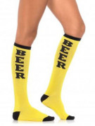 Strümpfe mit Beer-Schriftzug gelb-schwarz