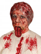 Blutige Zunge Halloween Latex-Applikation rot