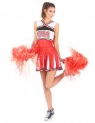 Cheerleaderin Damenkostüm Sportlerin weiss-rot-schwarz