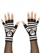 Totenkopf-Handschuhe fingerlos Gothic schwarz-weiss