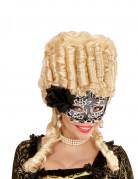 Barocke Augenmaske mit Rose und Spitze schwarz-weiss