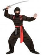 Ninja-Kostüm für Kinder schwarz-rot