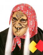 Gruselige Hexenmaske beige-rot-weiss
