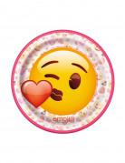 Emoji Pappteller 8 Stück klein pink-rot-gelb 17,5cm