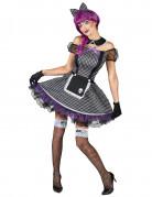 Gothic Puppe Damenkostüm schwarz-weiss-lila