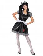 Gruselige Ragdoll-Puppe Damenkostüm schwarz-grau-weiss