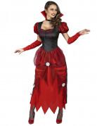 Vampir Damen-Kostüm mit Rosen rot-weiß