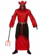 Langes Teufel-Herrenkostüm Dämon rot-schwarz
