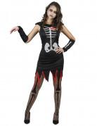 Skelett-Damenkostüm Halloween schwarz