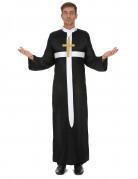 Priester-Herrenkostüm mit weißem Kreuz Pfarrer-Verkleidung schwarz-weiss