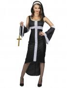 Sexy Nonne Damenkostüm mit seperaten Ärmeln schwarz-weiß
