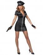Polizistinkostüm für Damen schwarz-silber