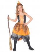 Hexen-Mädchenkostüm Zauberin orange-schwarz