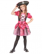 Korsarin-Mädchenkostüm Piratin rosa-schwarz