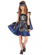Edles Ritterin Kinder-Kostüm blau-schwarz