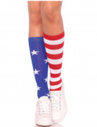 Kniestrümpfe Damen USA-Flagge bunt