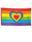 Regenbogen Flagge mit Herz Party-Deko bunt 90x150cm