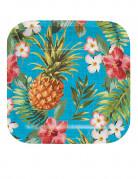 Hawaii Pappteller Ananas Party-Deko 8 Stück bunt 17cm
