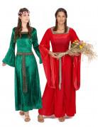 Mittelalter-Paarkostüm für Damen Fasching grün-rot