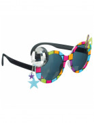 70er-Jahre Disco-Brille mit Discokugel bunt