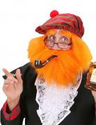Schottenhut mit Bart und Haaren rot-orange-grün