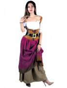 Mittelalterliche Wirtin Damenkostüm weiss-hellbraun