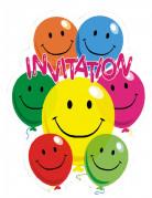 Einladungskarten Luftballons 6 Stück bunt 10,5 x 8 cm