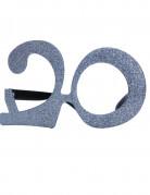 20. Geburtstag Glitzer-Brille silber