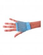 80er-Jahre Netzhandschuhe fingerlos neonblau