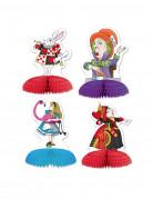 Alice im Wunderland Tisch-Dekorationen 4 Stück bunt