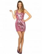 Disco Pailletten Kleid für Damen pink