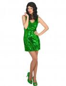 Disco Pailletten Kleid für Damen grün