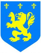 Raum Dekoration Mittelalter Wappen blau-gelb
