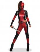 Sexy Deadpool Lizenzkostüm für Damen rot-schwarz