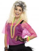 80er-Netzshirt für Damen neonpink