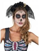 Dia de los Muertos Kopfschmuck mit Schleier und Rosen Halloween-Accessoire schwarz-beige
