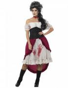Zombie-Showgirl Halloween Damenkostüm schwarz-rot-weiss