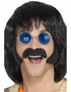 Hippie-Set aus schwarzem Schnurrbart und Koteletten