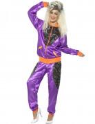 Retro Jogging-Damenkostüm lila