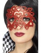 Verführerische Augenmaske mit Herzen und Pailletten Kostüm-Accessoire rot