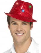 Pailletten Trilby Hut mit LED rot