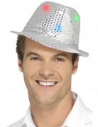 Pailletten Trilby Hut mit LED silber