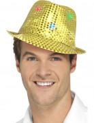 Pailletten Trilby Hut mit LED gold
