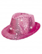 Pinker LED Trilby Partyhut mit Pailletten