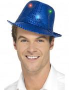 Pailletten Trilby Hut mit LED blau