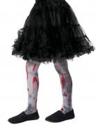 Blutverschmierte Zombie-Strumpfhose für Kinder grau-rot
