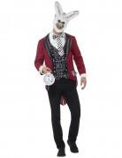 Weisses Horror-Kaninchen Herrenkostüm rot-weiss-schwarz